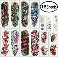 DaLin Extra Large Full Arm Temporary Tattoos and Half Arm Tattoo Sleeves for Men Women, 18 Sheets (Collection 2)