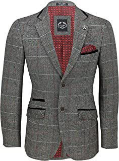 XPOSED of London Men's Classic Tweed Check Blazer in Tan Brown, Grey Herringbone Vintage Styled Tailored Fit Jacket