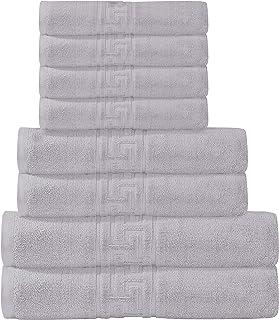 IMSA TEX- Hotel & Spa Quality Towel Sets, Fade Resistant Premium Quality 100% Cotton (Grey, 8Pcs Towel Sets)