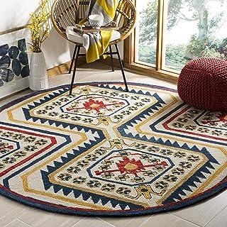 Safavieh Aspen Collection APN701A Handmade Moroccan Boho Tribal Wool Area Rug, 7' x 7' Round, Ivory / Multi