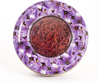 Azafrán de 1 gramos en lata de diseño floral de azafrán-Grado A-Azafrán español de alta calidad, todo rojo, 100% puro para el arroz de paella de té ( 1g )