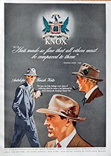 Knox Hats, 40's Print ad. full page Color Illustration (antelope finish hats) Authentic original Vintage 1949 Esquire Magazine Print Art