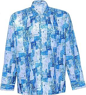 Thai Silk Men's Shirt Long Sleeve Quad Graphic Pattern