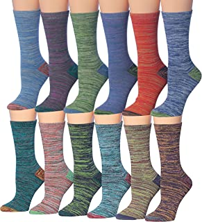 Women's 12 Pairs Colorful Patterned Crew Socks