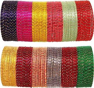 """تاتش ستون """"مجموعة أساور ملونة"""" الهندي سبيكة بوليوود المعدنية الغنية المنسوجة ماتي إنهاء الألوان أساور أساور أساور للنساء"""