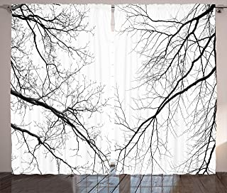 Ambesonne Forest Curtains, Trees Branches Leafless Spooky Scary Image in a Gloomy Air Sky Scene Image, Living Room Bedroom Window Drapes 2 Panel Set, 108
