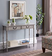 Kings Brand Furniture – 2 Drawer Wooden Hall Console Sofa Table, Washed Oak Finish