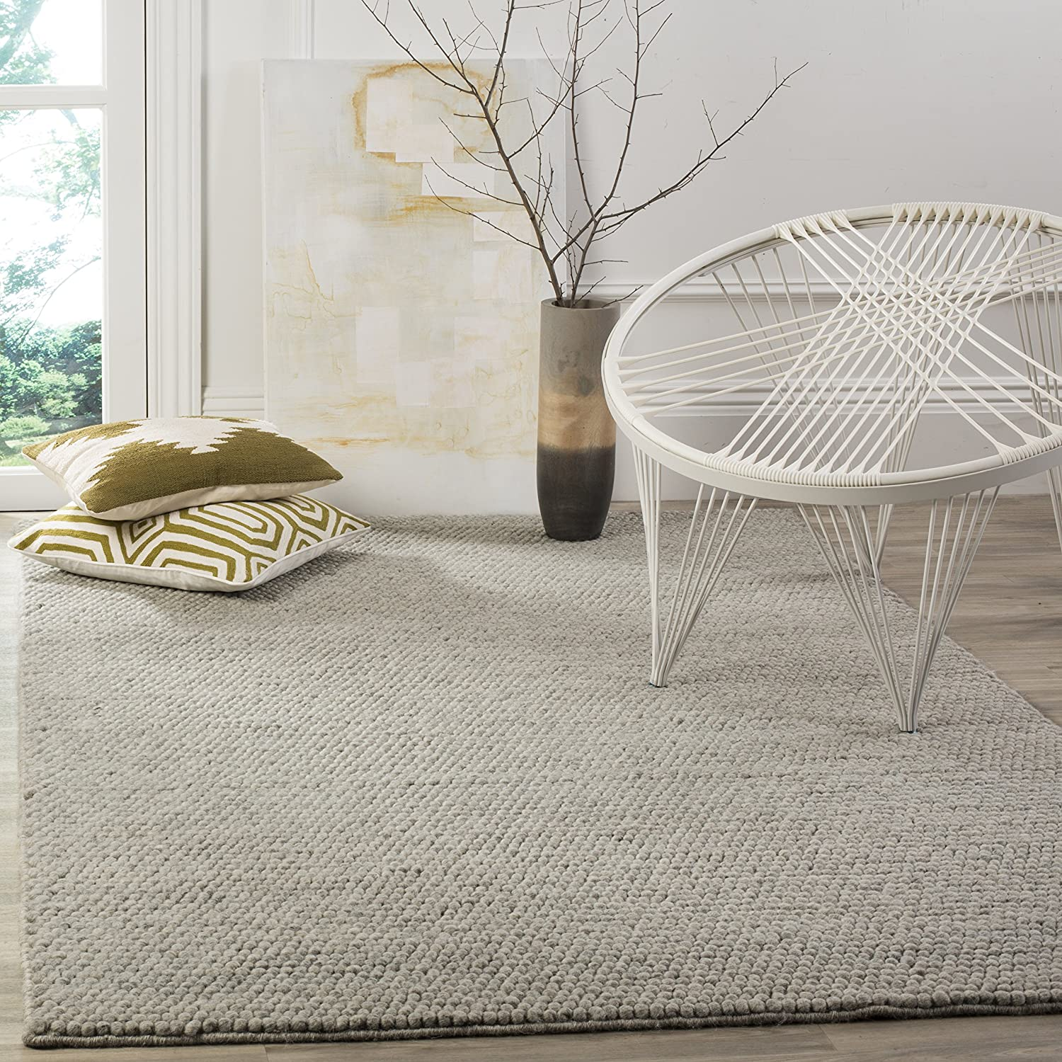 Safavieh Natura Collection NAT620C Hand-Woven Silver Wool Area Rug (3' x 5')