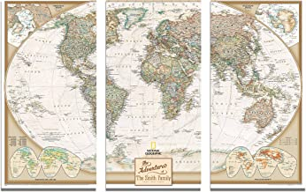 3 Panel - Personalized Canvas Executive World Travel Map with pins- Extra Large Wall Map