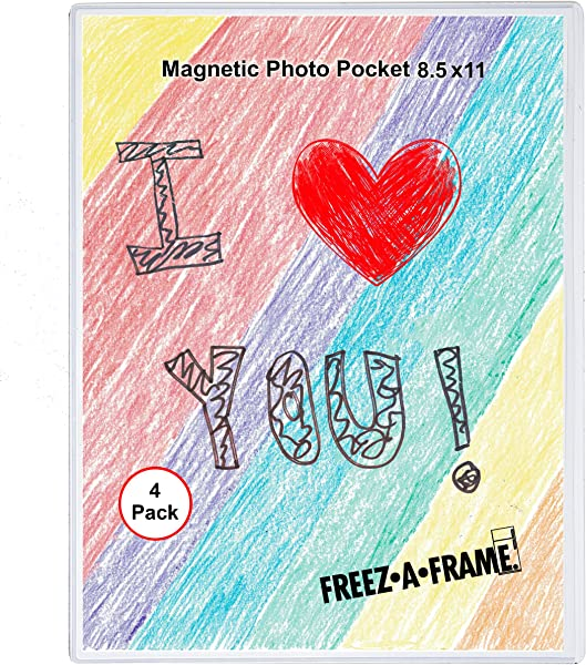 4 Pack 8 5 X 11 Magnetic Picture Frame Use For 8 X 10 Photo Children S Artwork Frame Magnetic Calendar Plastic Refrigerator Insert Holder Sleeve Pocket By Freez A Frame Made In The USA