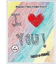Moldura magnética para presente de 20,3 x 27,9 cm, moldura de arte infantil para fotos de 20,3 x 25,4 cm, bolso de plástic...