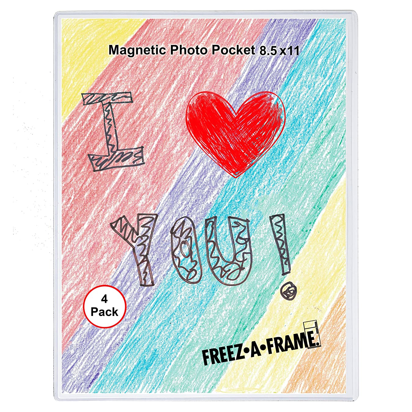 4 Pack 8.5 X 11 Magnetic Picture Frame Use for 8 X 10 Photo, Children's Artwork Frame, Magnetic Calendar Plastic Refrigerator Insert Holder Sleeve Pocket by Freez-a-Frame Made in the USA