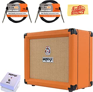 Orange Crush 20 Guitar Combo Amplifier Bundle with Orange FS-1 Footswitch, Instrument Cables, and Austin Bazaar Polishing Cloth