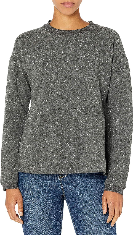Amazon Brand - Goodthreads Women's Heritage Fleece Long Sleeve Crewneck Cropped Peplum Sweatshirt