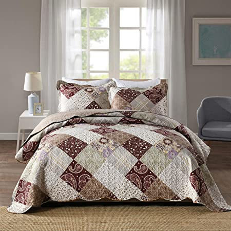 All For You 2 Piece Reversible Bedspread Coverlet Quilt Set Beige Pink Burgundy And Gray Green Prints Twin Home Kitchen