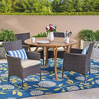 Great Deal Furniture Valena Outdoor 5 Piece Acacia Wood and Wicker Dining Set, Teak with Multi Brown Chairs