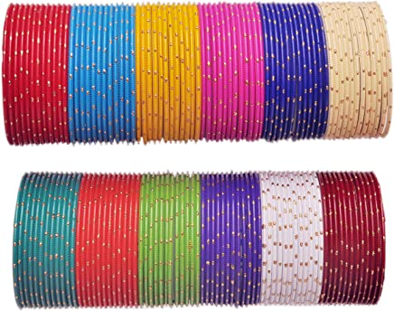 Nmii Beautiful Plain Design Glossy Multicolor Bangles Set For Girls & Women