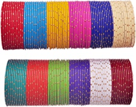 NMII Multicolour Metal Alloy with Golden Design Pattern Bangle Set for Women