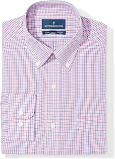 "Buttoned Down Men's Classic Fit Button-Collar Pattern Non-Iron Dress Shirt, Berry/Red/Navy Tattersall Micro Check, 16"" Neck 37"" Sleeve"