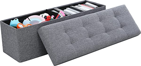 Ornavo Home 可折叠簇绒亚麻大号收纳搁脚凳长凳脚凳凳子座椅 15X45X15 灰色