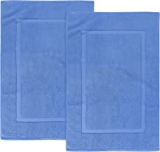 Utopia Towels 21-Inch-by-34-Inch Washable Cotton Banded Bath Mat, 2 Pack, Electric Blue