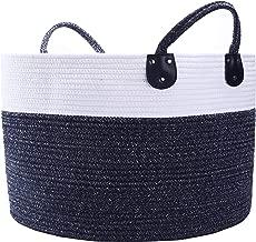NINIPANDA&LEE Extra Large Cotton Rope Basket - 20''x 20''x13''H-Baby Nursery Basket -Storage Bins for Toys-Laundry Basket -Woven Blanket Basket-Blue and White