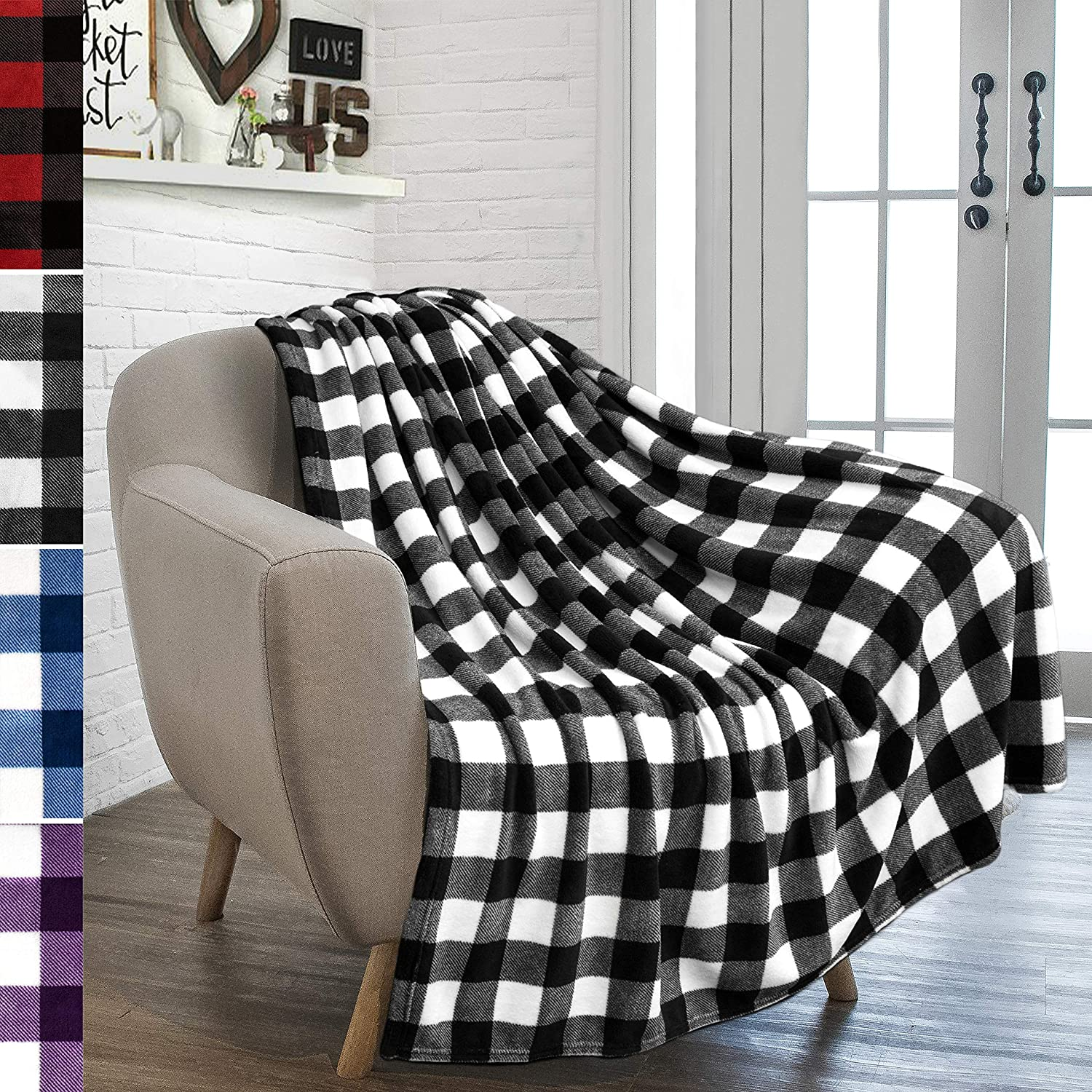 PAVILIA Buffalo Plaid Throw Blanket Soft National products Couch Flanne for Classic Sofa