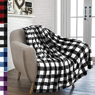 PAVILIA Buffalo Plaid Throw Blanket for Sofa Couch | Soft Flannel Fleece White Black..