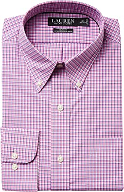 Slim Fit Non Iron Broadcloth Plaid Button Down Collar Dress Shirt