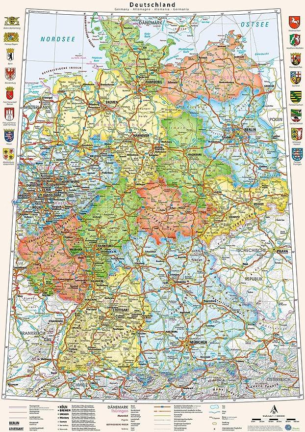 J.Bauer Karten Mapa de Alemania, político, en alemán y inglés, 70 x 100 cm: Amazon.es: Hogar