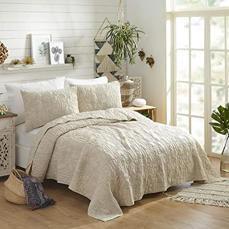 Amazon Com Justina Blakeney Makers Collective Hamsa Natural 3 Piece Quilt Set Full Queen A046017nands Home Kitchen