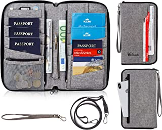 Valante Family Travel Document Organizer Capacious RFID Passport Holder Wallet