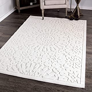 """Orian Rugs Farmhouse Boucle Collection 409826 Indoor/Outdoor High-Low Tunisian Tile Area Rug, 5'2"""" x 7'6"""", Natural Ivory"""