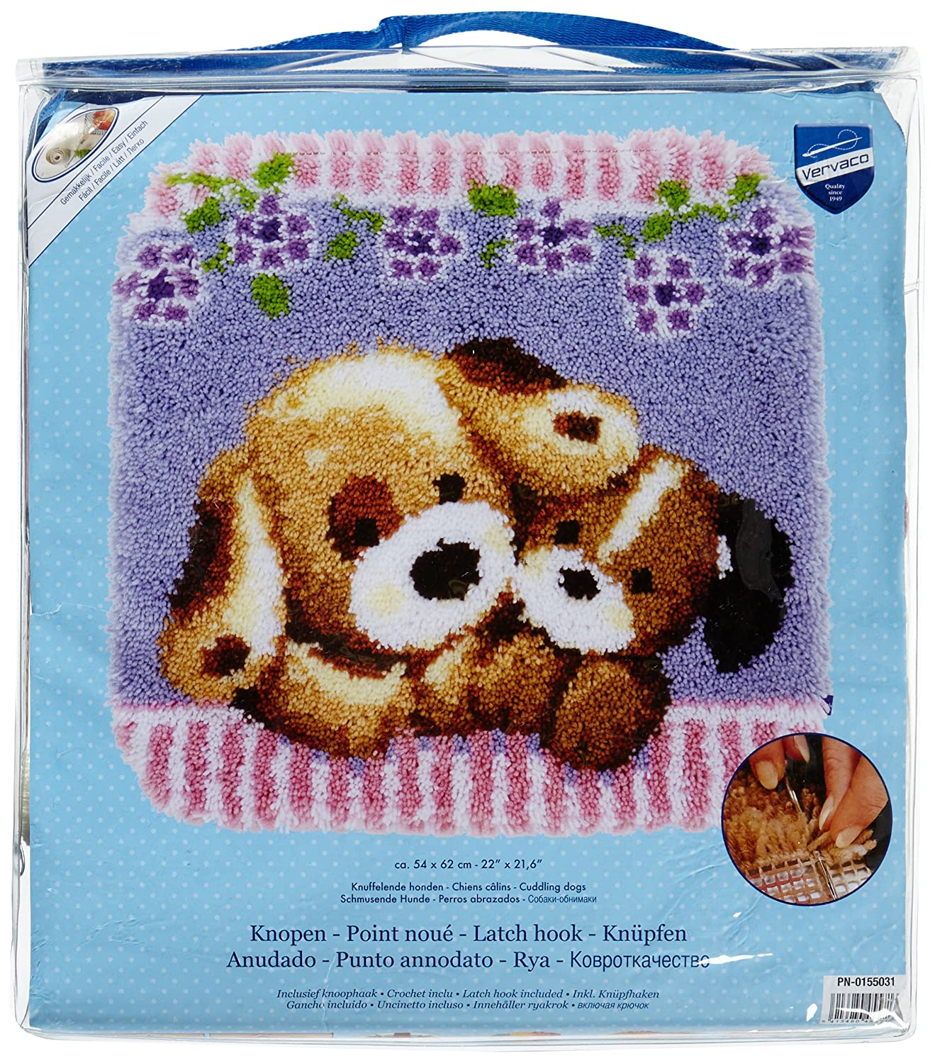 Vervaco PN-0155031 Cuddling Dogs Shaped Rug Latch Hook Kit, 22