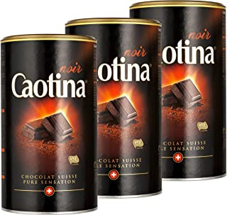 Caotina noir, Cocoa Powder with Dark Swiss Chocolate, Hot Chocolate, 3 Pack, 3 x 500g