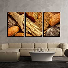 wall26-3 Piece Canvas Wall Art - Fresh Bread and Wheat on The Wooden - Modern Home Decor Stretched and Framed Ready to Hang - 16
