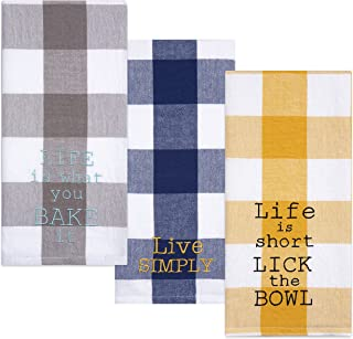 Sticky Toffee Cotton Flour Sack Kitchen Towels, Embroidered Baking Theme, Yellow Tan and Blue, 3 Pack, 28 in x 29 in