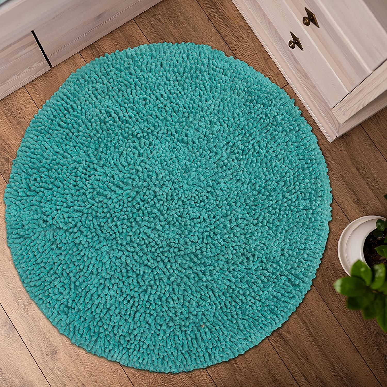 Buy CHARDIN HOME Turquoise Round Bath Mat   20 feet Boho Bathroom ...