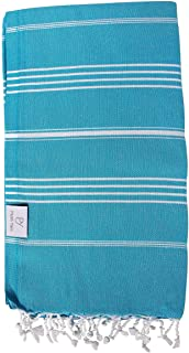 Plush Yarn Classic Peshtemal Turkish Made Bath / Beach Towel, 100% Authentic Premium Turkish Cotton 100cm x 180cm (Turquoise)