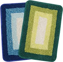 Saral Home Soft Cotton Anti Slip Bathmat (Set of 2 pc, 35x50 cm), Green, Turq