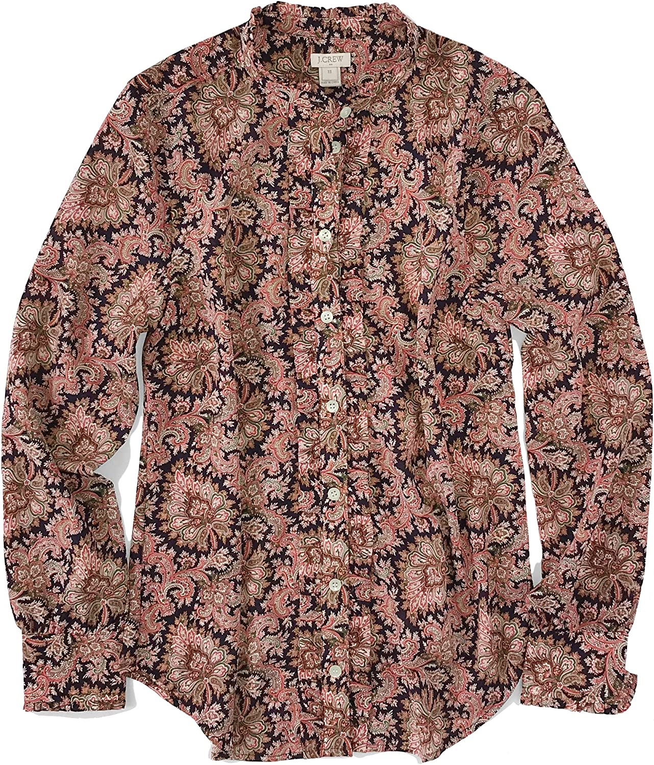 J Crew Factory Women's LightWeight Paisley Ruffle Blouse Navy Coral