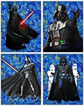Darth Vader Poster Set - Star Wars Starry Night - with Lightsaber and Stormtroopers - A Unique Original Trilogy Wall Art Collection - Set of 4 8x10 Photos