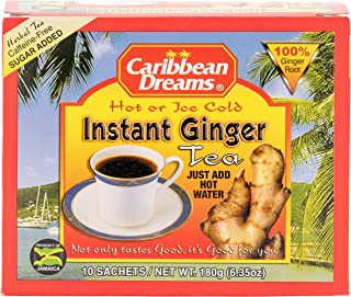 Caribbean Dreams Instant Ginger Tea 10 Sachets, 100% Natural Ginger Tea from Jamaica, Strong Taste and Aroma Tea