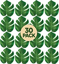 Prextex 30 Artificial Palm Leaves for Party Table Decoration, Imitation Tropical Leaf Placemats, Table Runners or Greenery Décor for Events, Beach Theme or Jungle Party Supply (Medium, 7.6 x 7 Inch)
