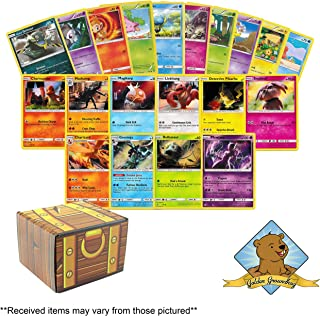 100 Pokemon Card Lot - Featuring 3 Random Holo Foils from The Detective Pikachu Promo Set! Includes Golden Groundhog Treasure Chest Storage Box!