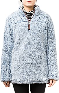 PAAZA Women 1/4 Zip Pullover Frosty Pile Tipped Sweater Stadium Fleece Sherpa Pullover Hoodie