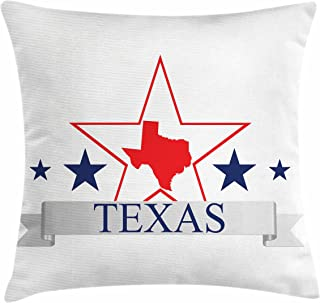 Ambesonne Texas Star Throw Pillow Cushion Cover, San Antonio Dallas Houston Austin Map with Stars Pattern USA, Decorative Square Accent Pillow Case, 40