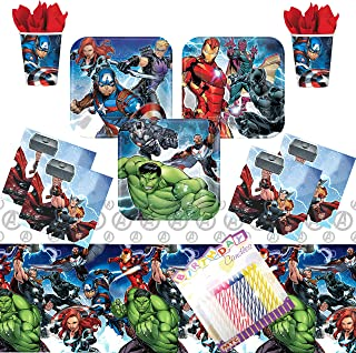 Marvel Epic Avengers Party Supplies Pack Serves 16: Dessert Plates, Beverage Napkins, Cups, Table Cover, and Birthday Candles