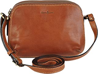 Gianni Conti Small Italian Leather Classic 3 Section Shoulder Handbag 916315