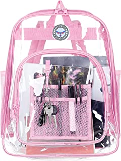 BAGAIL Clear Backpack Heavy Duty See Through Transparent Daypack Student School Bookback, Pink M